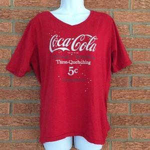 Vintage Style Coca Cola women's V Neck Tee